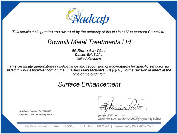BMT NADCAP certificate, Surface Enhancement