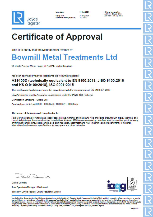 BMT certificate LRQA AS 9100D / ISO 9001:2015