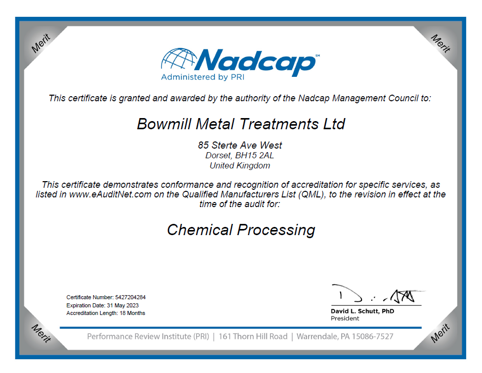 BMT NADCAP certificate, Chemical Processing